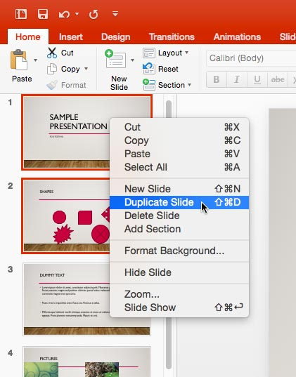 Duplicate Slide option within the right-click contextual menu