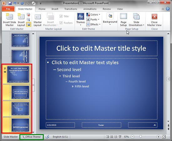 Duplicate copy of Slide Master created