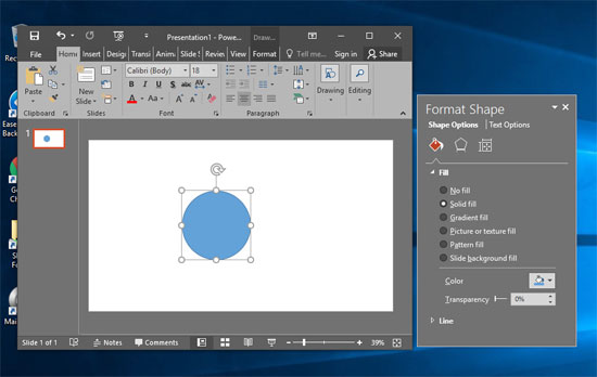 Format Task pane dragged off the PowerPoint interface