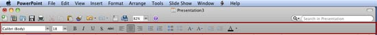 Formatting Toolbar in PowerPoint 2011