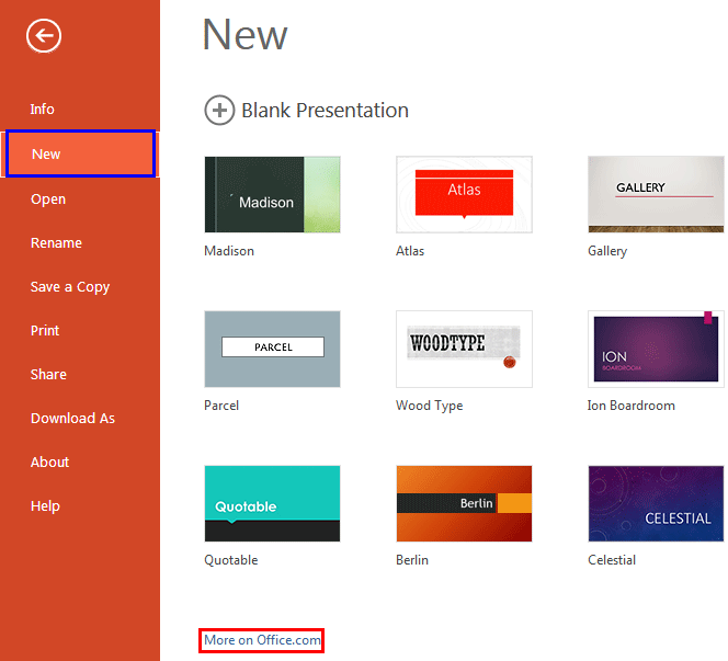 get more templates and themes in powerpoint online