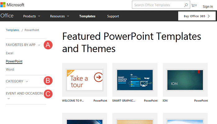 Templates and Themes on Office.com