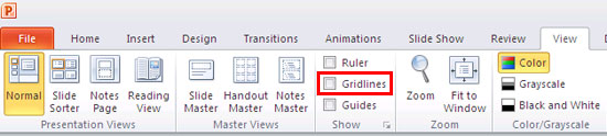 Gridlines check-box within View tab