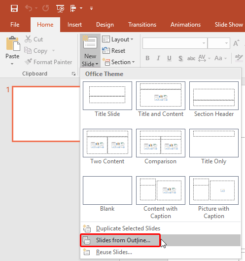 import outlines in powerpoint 2016 for windows