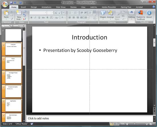 PowerPoint presentation after importing slides from outline