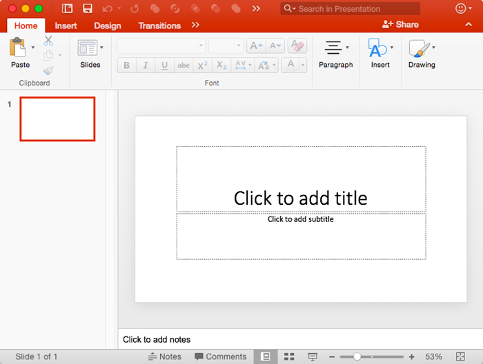 New presentation in PowerPoint 2016 for Mac