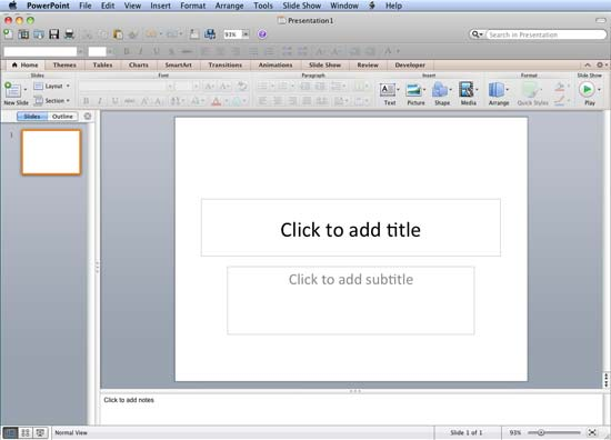 PowerPoint 2011 interface with blank presentation