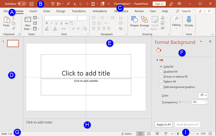 PowerPoint 365 for Windows interface