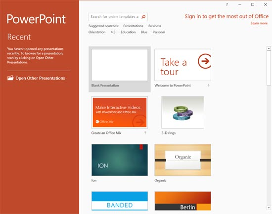 PowerPoint 2016 Presentation Gallery