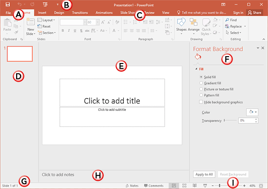 PowerPoint 2016 interface