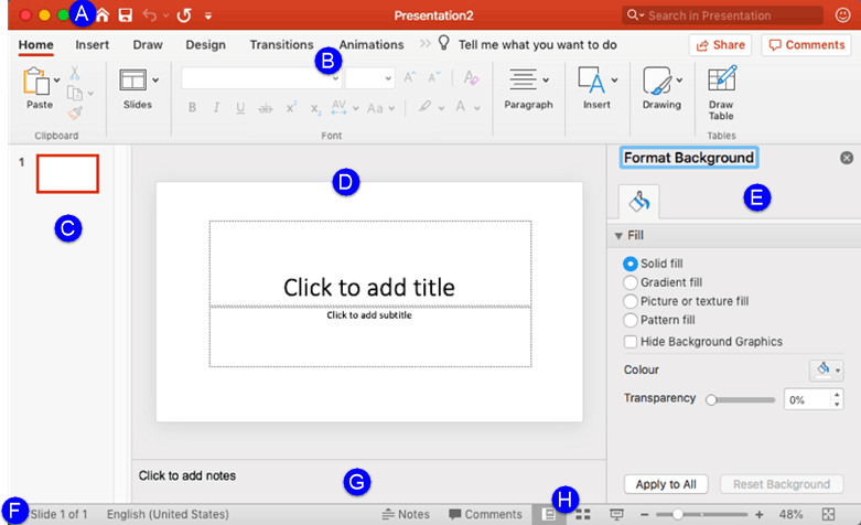 PowerPoint 365 for Mac interface