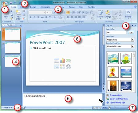 The PowerPoint 2007 interface