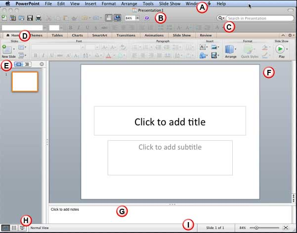 The PowerPoint 2011 interface