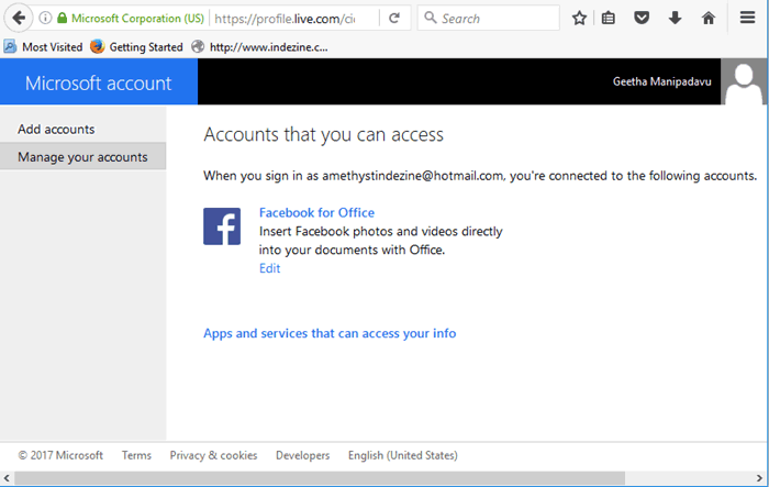 Window showing only Facebook account connected