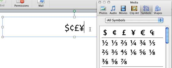 Symbols inserted at the cursor insertion position