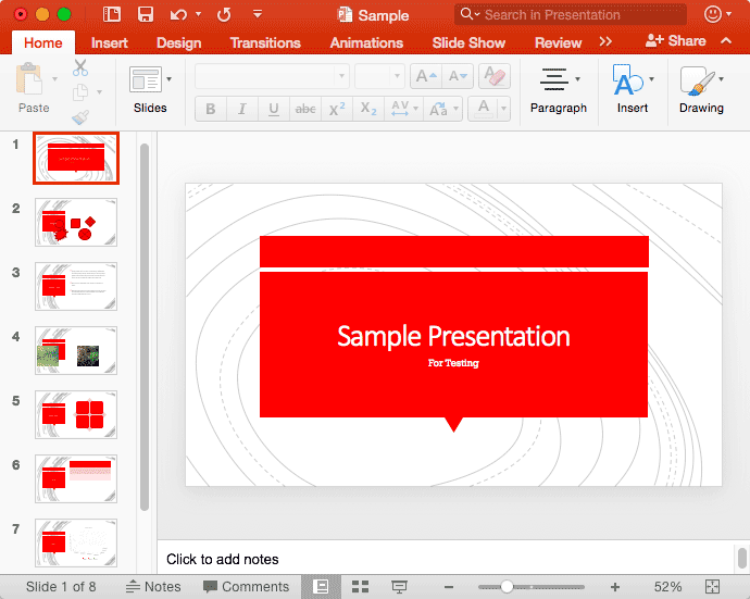 Normal View in PowerPoint 2016 for Mac