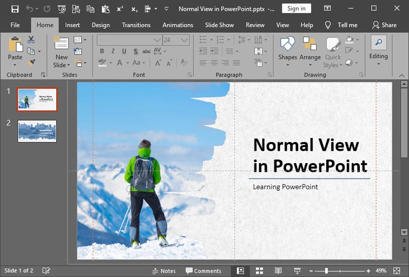 Normal View in PowerPoint 2019