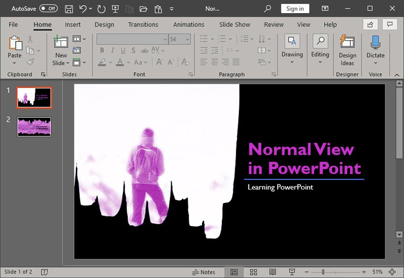 Normal View in PowerPoint 365 for Windows