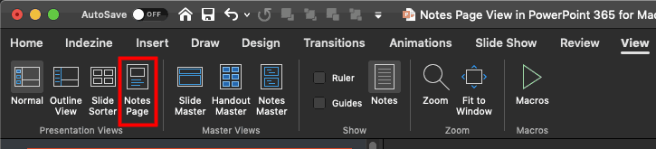 Notes Page button