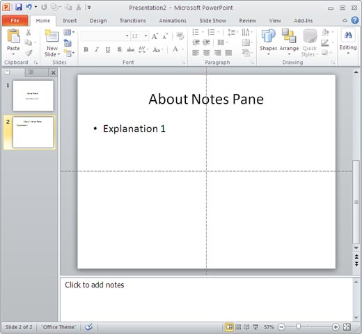 Notes Pane in PowerPoint 2010 for Windows
