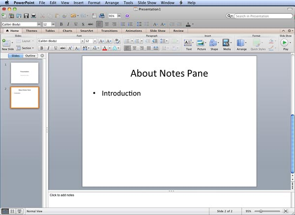 Notes Pane in PowerPoint 2011 for Mac