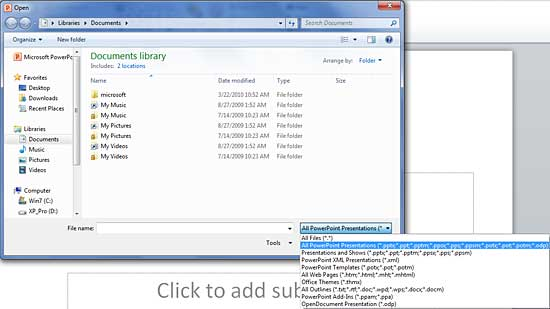 file types that powerpoint 2010 can open in windows, Powerpoint templates