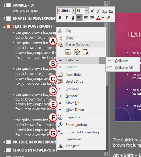 Context menu within Outline pane