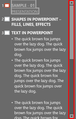 Scroll bar within Outline pane