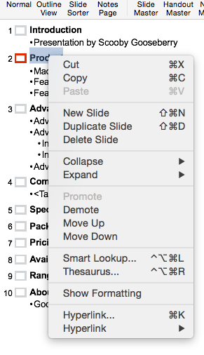Outline edit options
