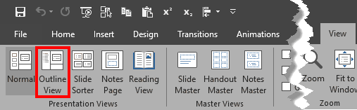 Outline View button within Presentation Views group