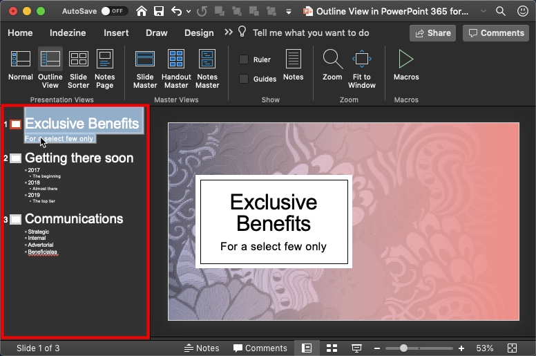 Outline View in PowerPoint 365 for Mac