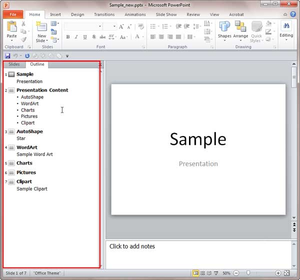 Outline pane in PowerPoint 2010