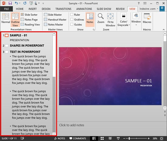 Outline pane within PowerPoint interface