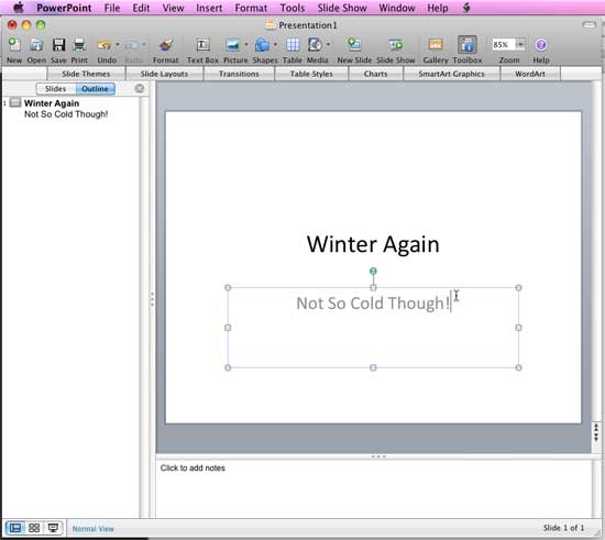 Outline pane in PowerPoint