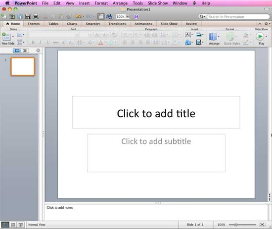 PowerPoint 2011 interface