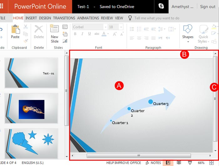Slide area within PowerPoint Online interface