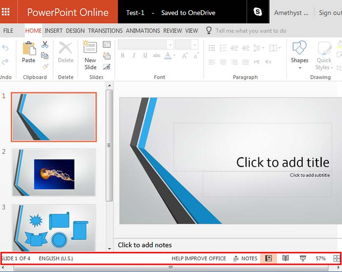 Status Bar within PowerPoint Online interface
