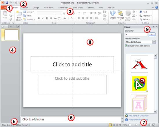 The PowerPoint 2010 interface
