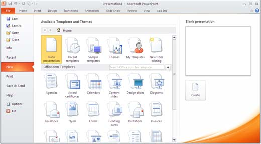 File Menu leads to the Backstage View in PowerPoint 2010