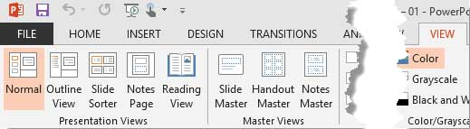 View tab of the Ribbon  in PowerPoint