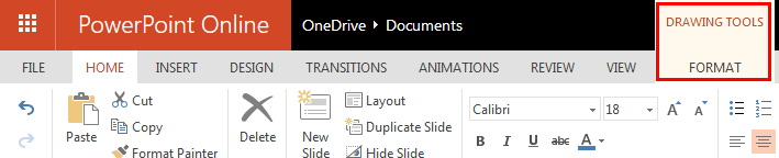 Ribbon and Tabs in PowerPoint Online