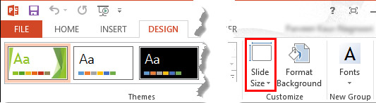 Slide Size button within the Design tab of the Ribbon