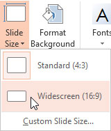 Widescreen (16:9) option within Slide Size drop-down gallery
