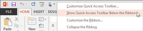 Quick Access Toolbar Below the Ribbon option