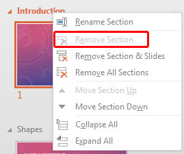Remove Section option greyed out