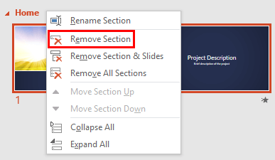 Remove Section option not greyed out