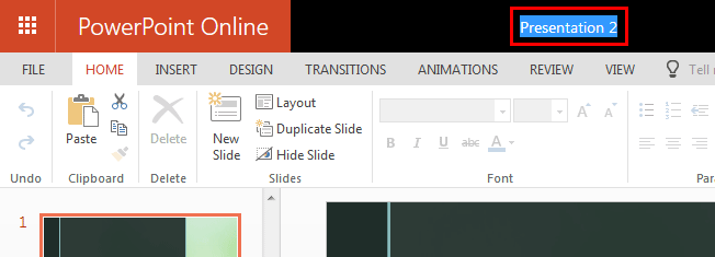 Select the presentation name