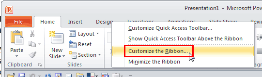 Customize the Ribbon option
