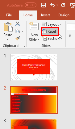 Reset button within the Slides group of Home tab
