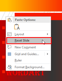 Reset Slide option within the context menu